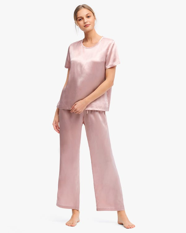 Bra-In Silk Loungewear Women Pants Set Rosy Pink M