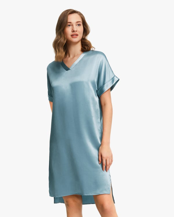 Versatile Bra-In Silk Nightdress Blue-Haze XS