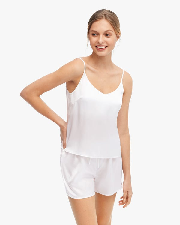 Comfortable Bra-In Silk Camisole Set White M