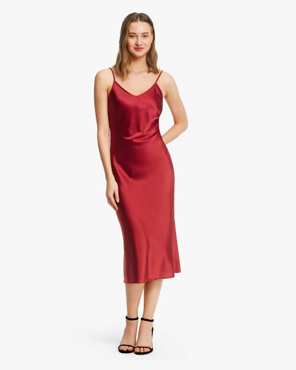 Elegant Bra-In Silk Midi Dress Claret XS