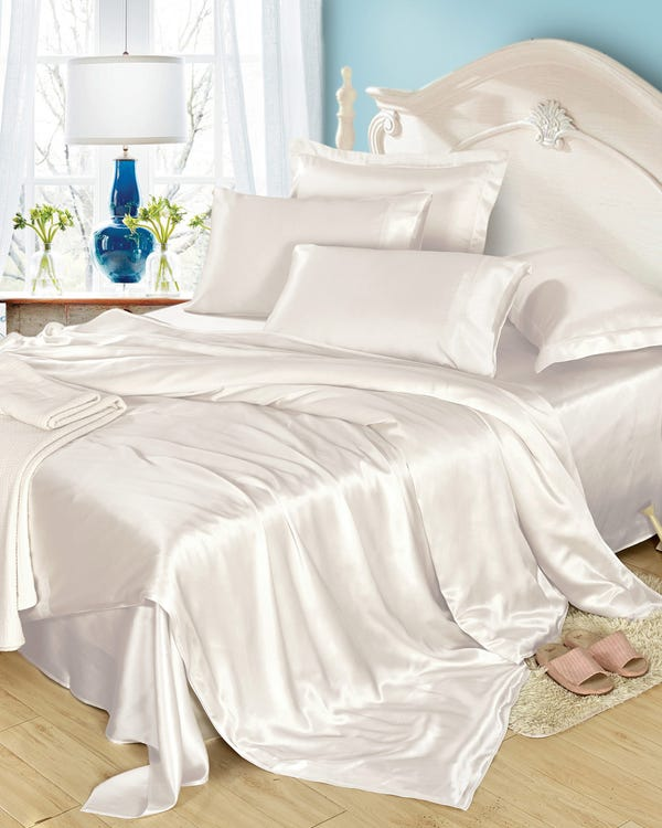 25MM 4PCS Silk Bedding Set Ivory Full