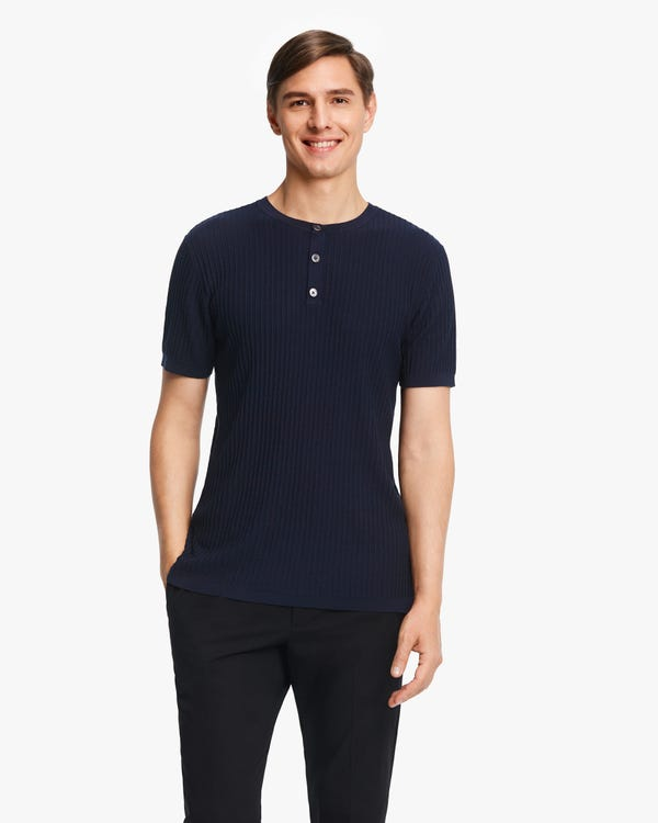 Jacquard Silk Knit Men T-shirt Navy Blue M-hover
