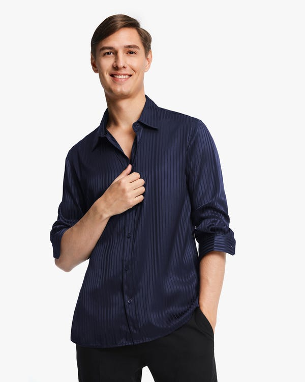 Glossy Striped Silk Shirt For Men-hover
