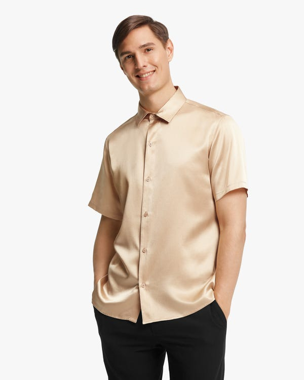 Luxury Short-Sleeved Silk Shirt For Men-hover