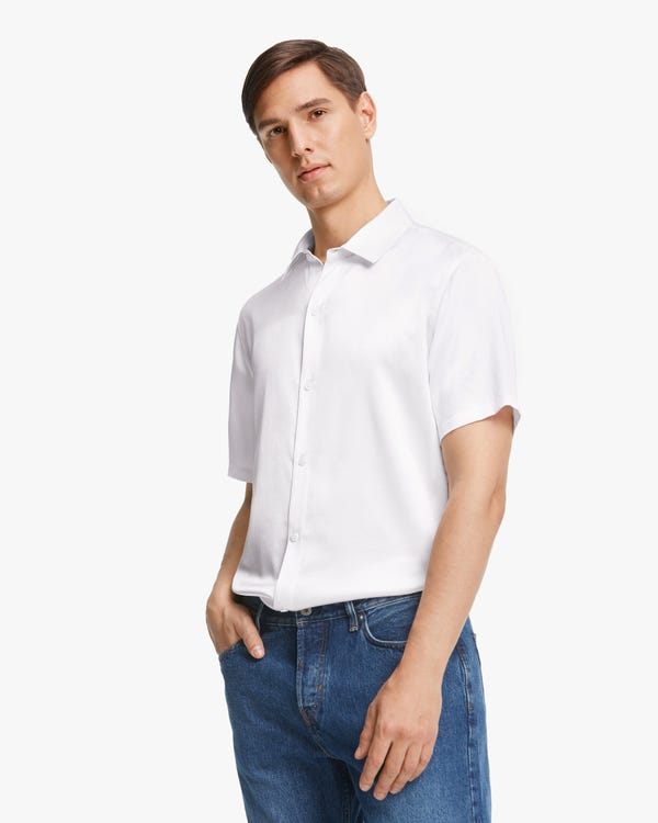 Luxury Short-Sleeved Silk Shirt For Men White M-hover