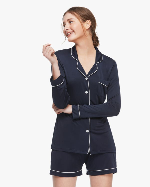 Trimmed Silk Women Long-sleeve Pyjamas Set Navy Blue M-hover