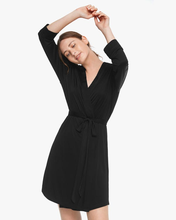Washable Silk Knitted Dressing Gown For Women Black M-hover
