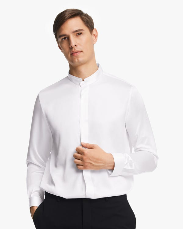 Classic Concealed Placket Silk Men Shirt White M