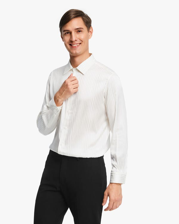 Glossy Striped Silk Shirt For Men Natural-White M