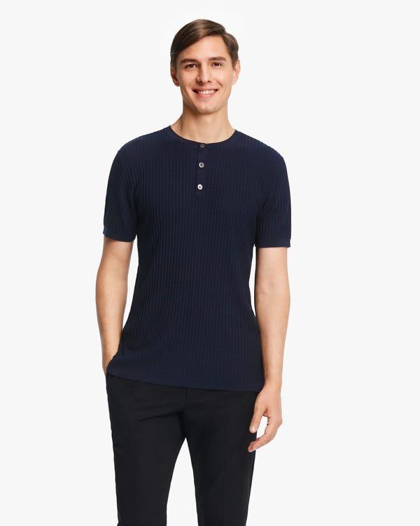 Jacquard Silk Knit Men T-shirt Navy Blue L