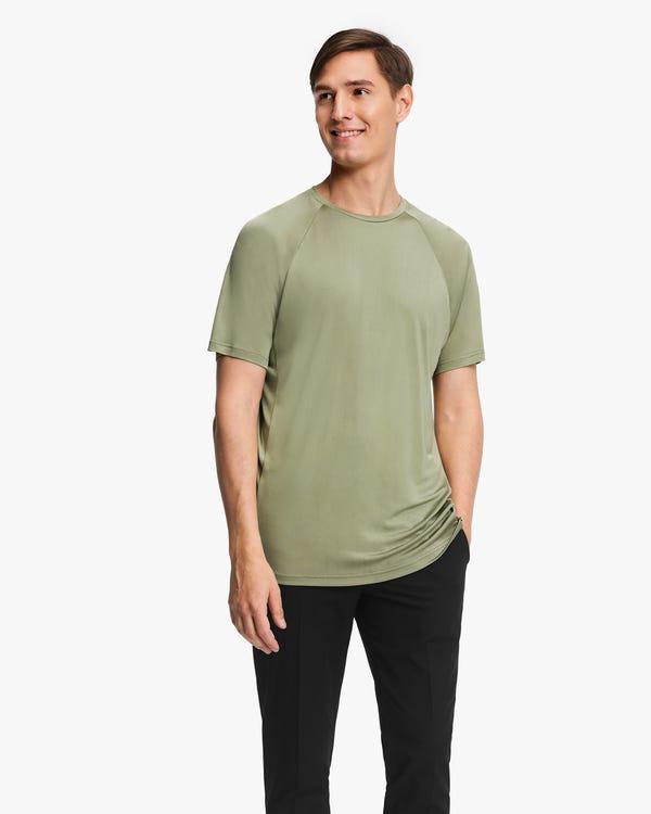 Simple Silk Knit Men T-shirt Gray-Green L
