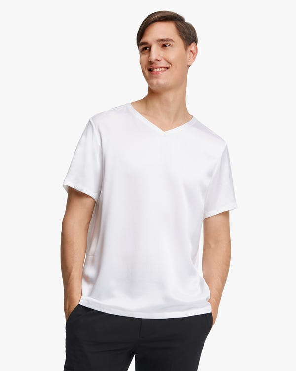 Short-Sleeved V Neck Silk Mens Tee