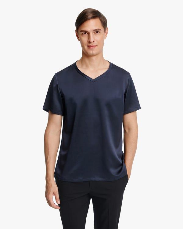 Kurzärmliges Herren T-Shirt aus Seide Navy Blue M