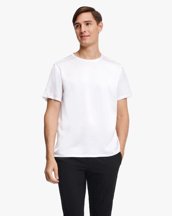 Short-Sleeved Round Neck Silk Mens Tee White L