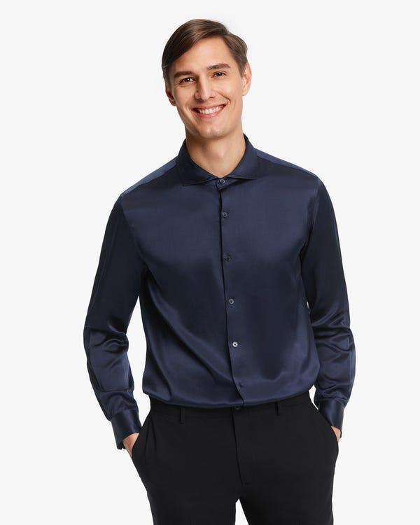 Elegantes Seide Herrenhemd Navy Blue M