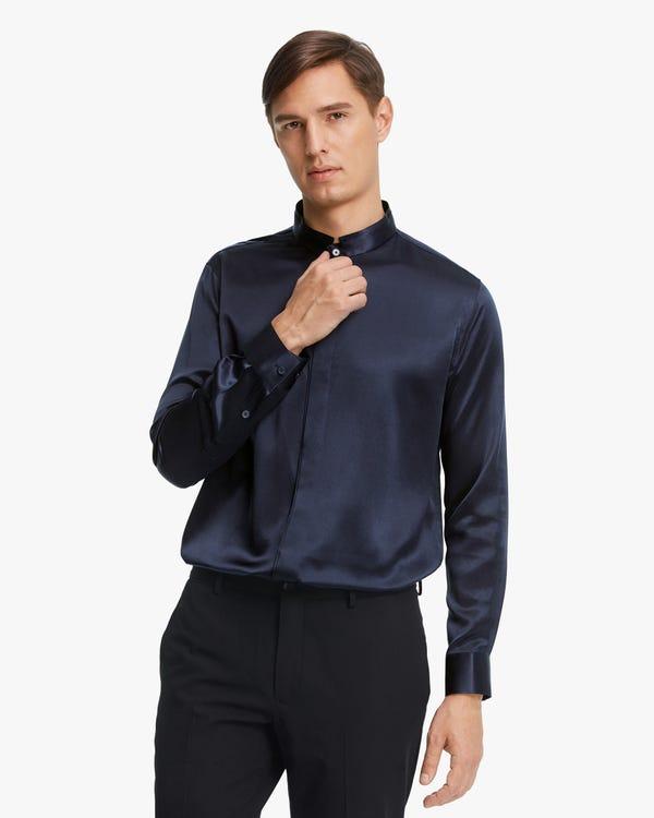 Klassisches verdecktes Seide Herrenhemd mit Knopfleiste Navy Blue M