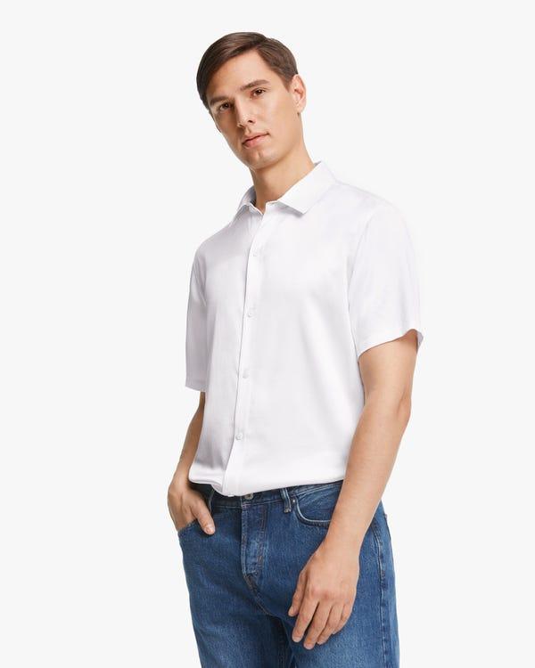 Luxury Short-Sleeved Silk Shirt For Men White L