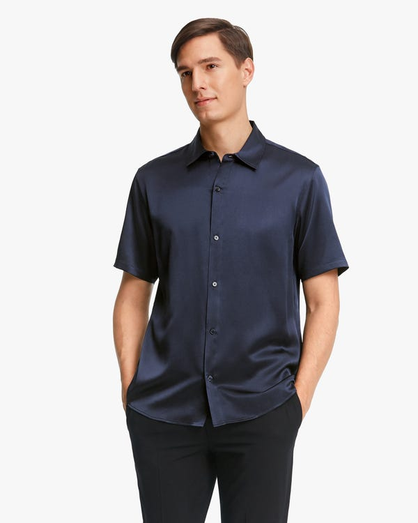 Luxus Kurzarm Seidenhemd für Männer Navy Blue M