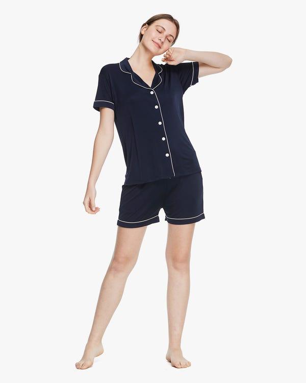 Trimmed Silk Women Short-sleeve Pyjamas Set Navy Blue L