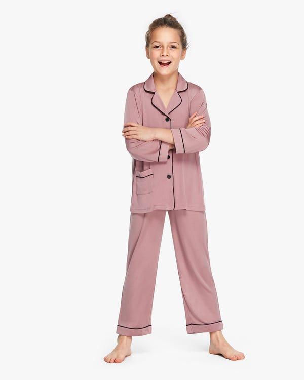 Long Sleeve Kids Silk Knitted Pyjamas Quicksand-Pink 120