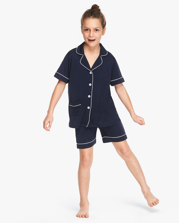 Chic Trimmed Kids Silk Knitted Pyjamas Set