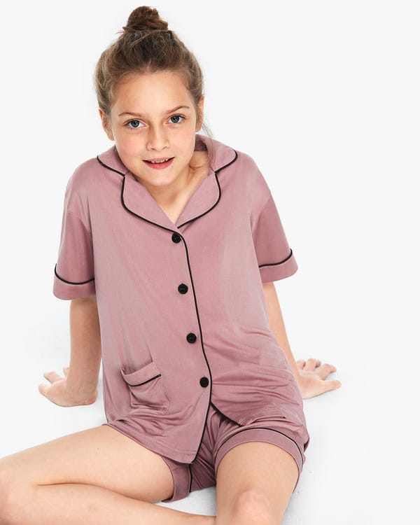 Chic Trimmed Kids Silk Knitted Pajamas Set Quicksand-Pink 120