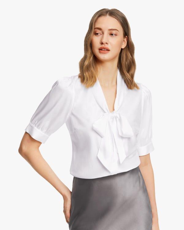Short-Sleeve Silk Bow-Tie Blouse White XL