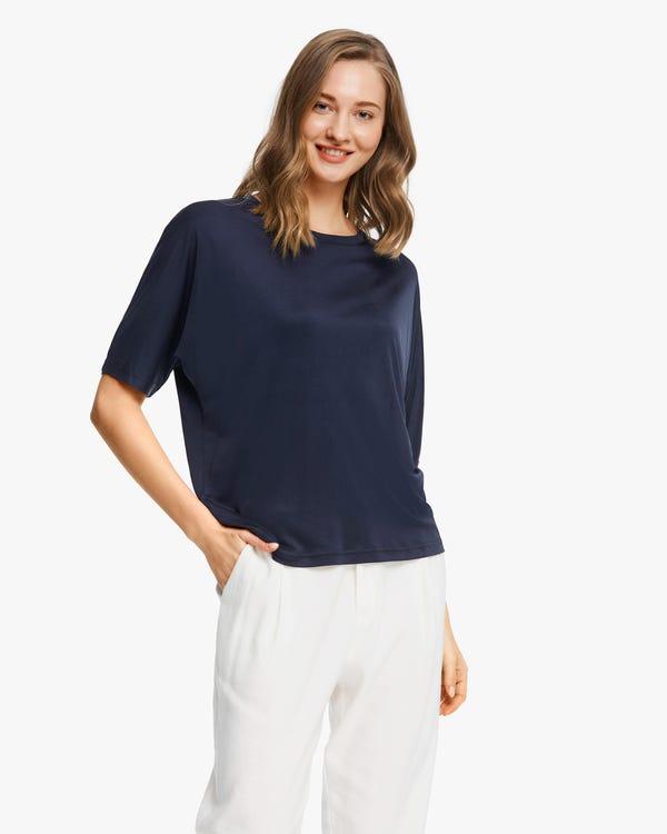 T-shirt in maglia di seta dal taglio ampio