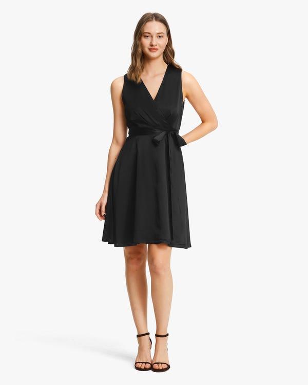 Retro V-Neck Pure Silk Dress
