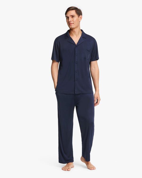 Short sleeves Men Silk Knit Pajama set Navy Blue L