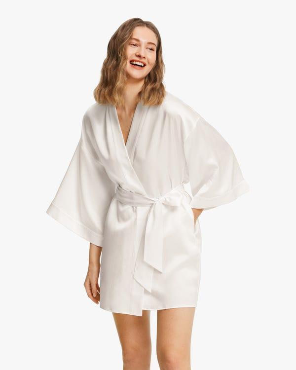 Glossy Silk Mini Robe For Women