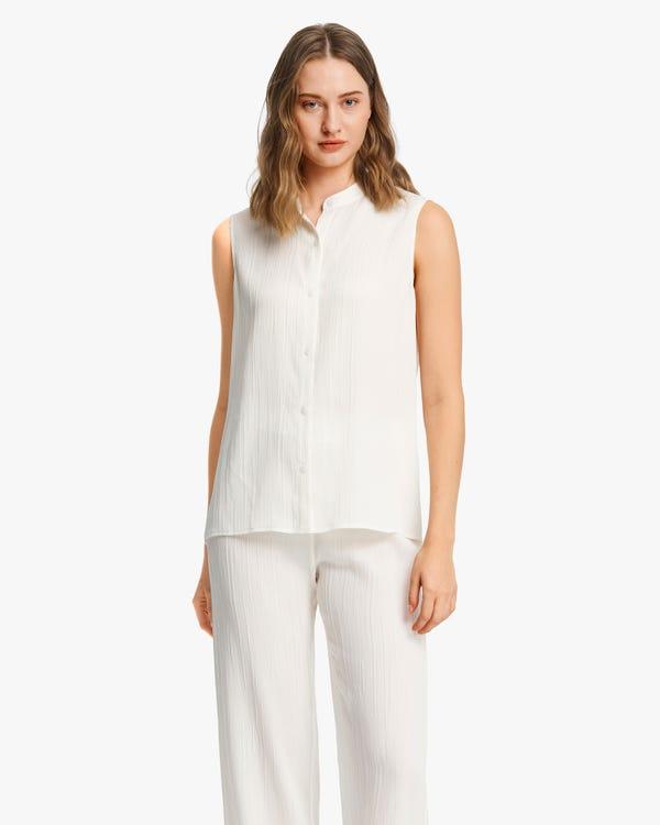 Camisa Seda Sin Mangas con Textura