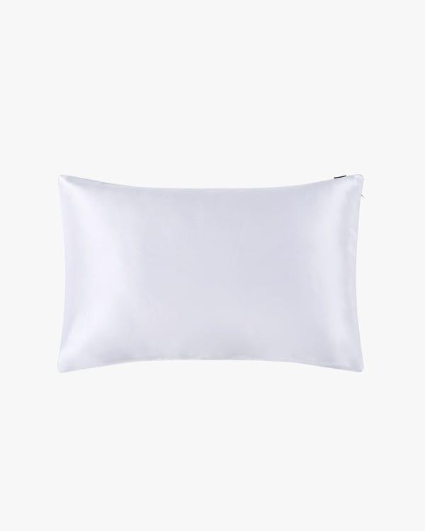 25 Momme Funda de Almohada de Seda Sencilla con Cremallera Invisible Blanco 45x110cm