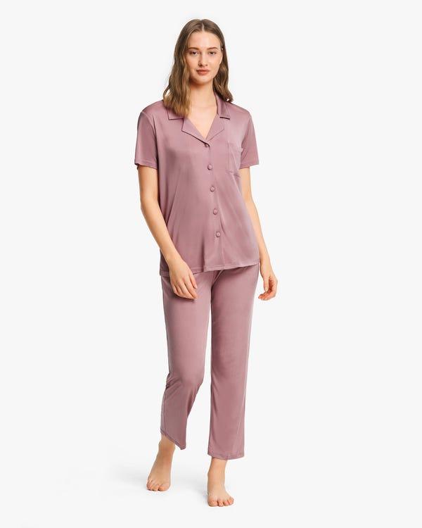 Pijama Punto De Seda De Manga Corta Mujer-hover