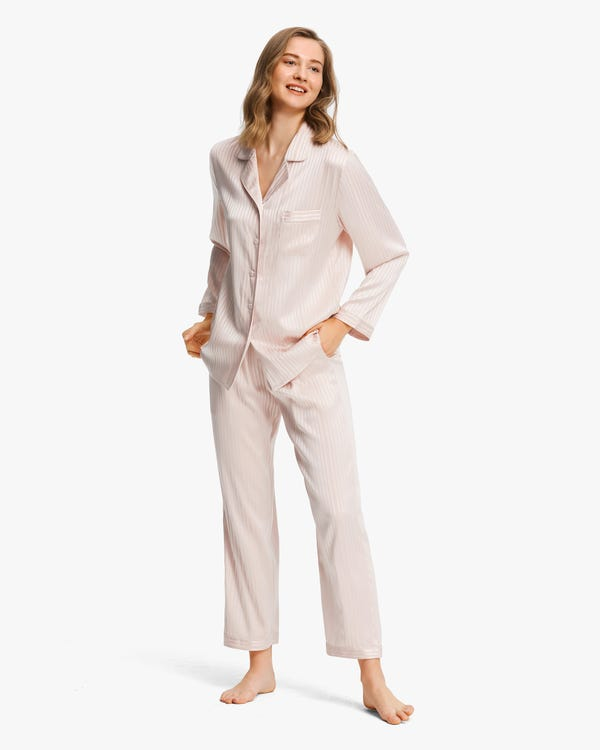 Stretchable Women Silk Pajamas Set-hover