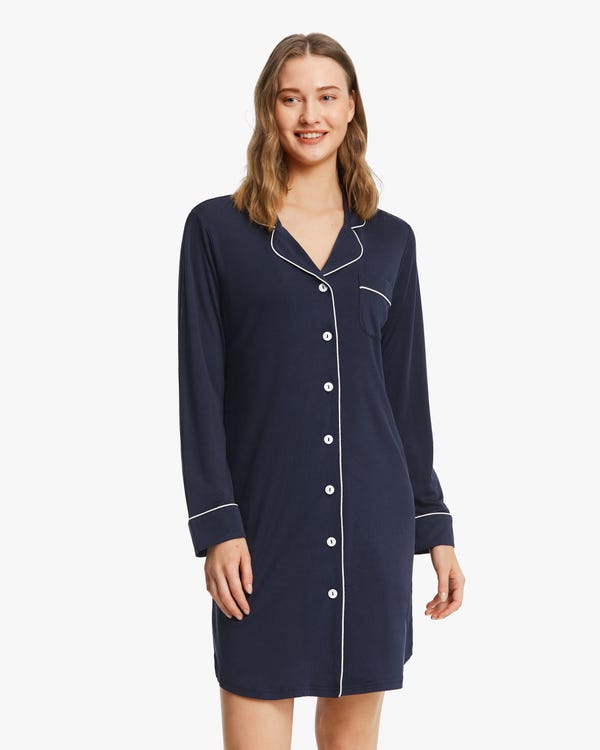 Classic Trimmed Silk Knit Nightshirt