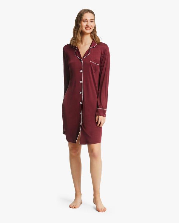 Camicia da notte in maglia di seta con taglio classico Claret M