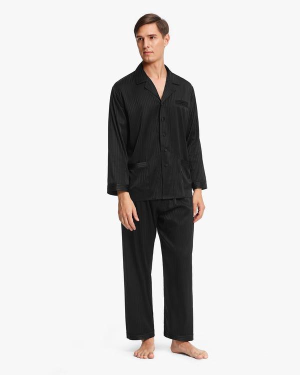 Stretchable Men Silk Pajamas Set Black M