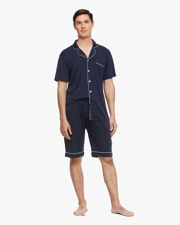 Getrimmte Männer Seide Kurzarm Pyjama Set