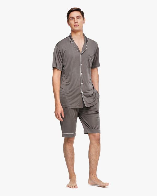 Set pigiama a maniche corte da uomo in seta rifinita Dark-Gray M