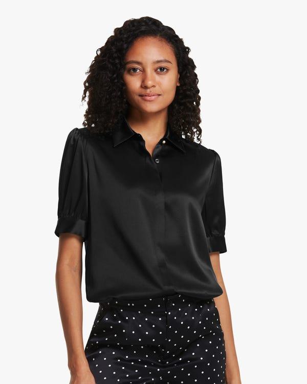 Distinctive Puff Sleeve Silk Shirt