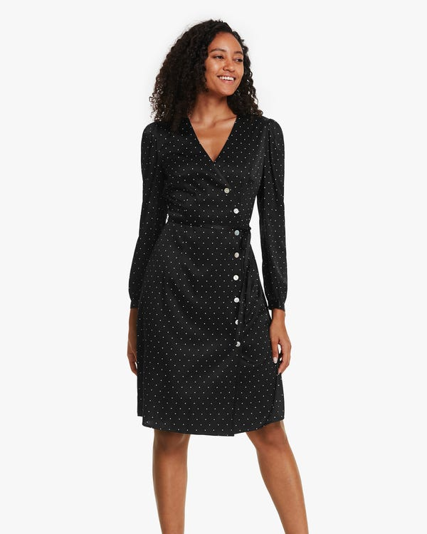 Polka Dots Print Stretchable Silk Dress