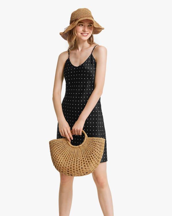 Polka Dots Print Silk Mini Dress