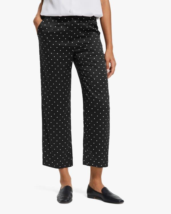 Polka Dots Print Silk Pants
