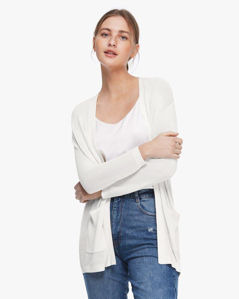 Button-Free Silk Long Cardigan