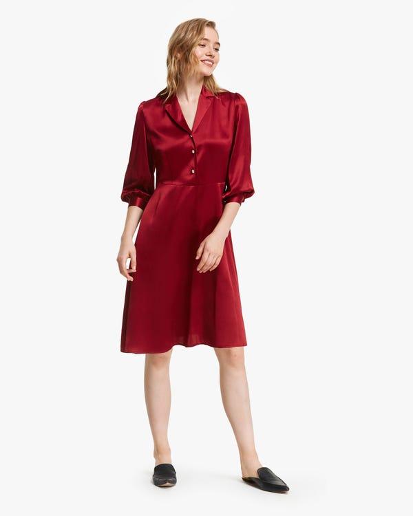 Romantic Pearl Button Silk Midi Dress