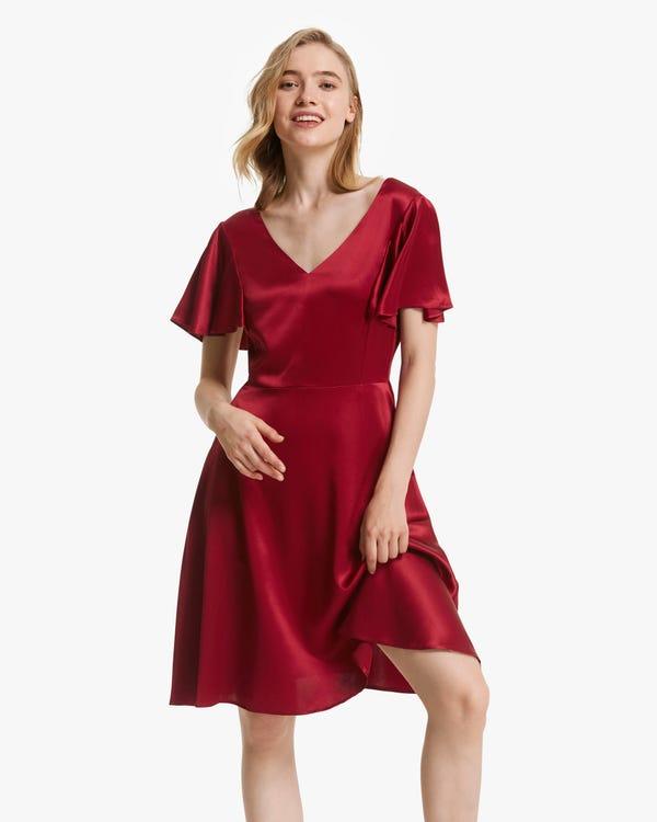 Glossy V Neck Silk Midi Dress Claret XXL