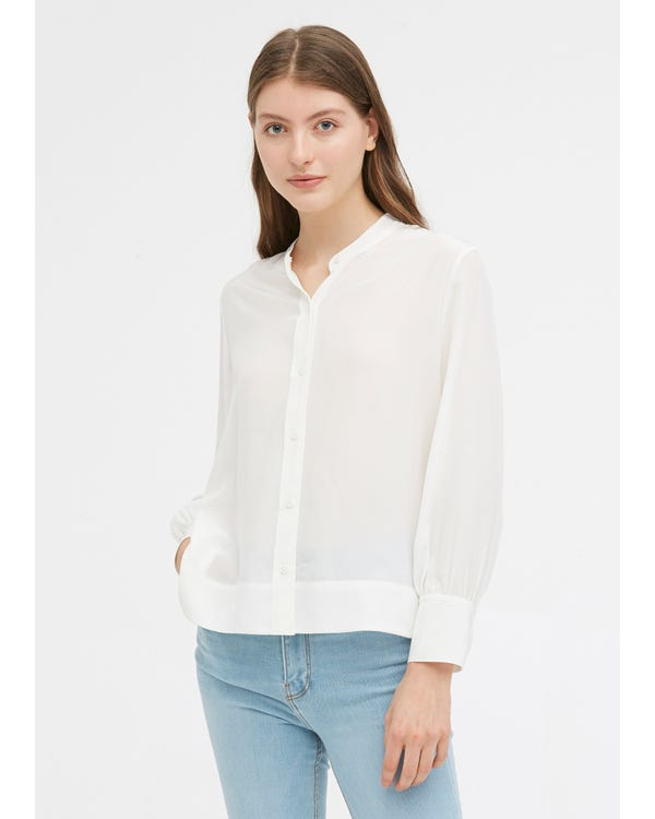 Braderie Chemise Soie Chic Col Rond L