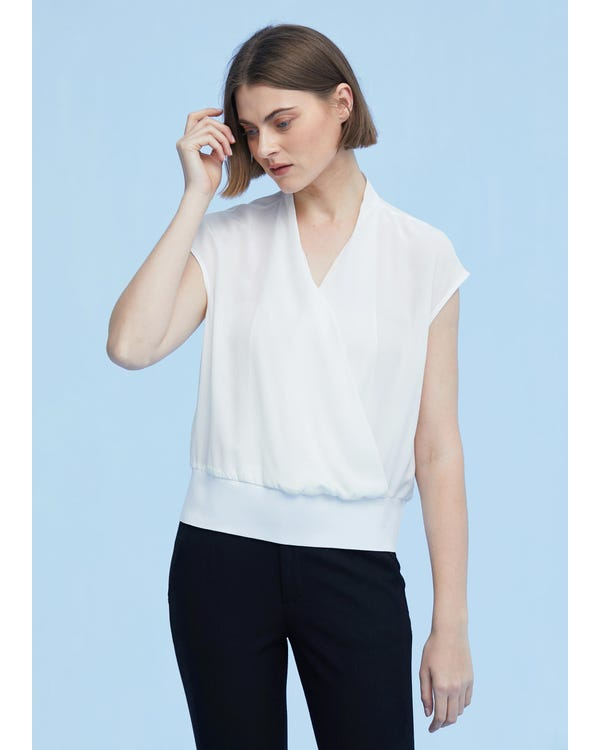 Braderie Elegant Silk Top With Overlapped Front XS