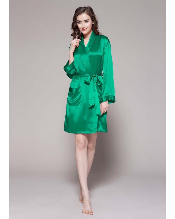 Braderie 22 Momme Mid Length Silk Robe S
